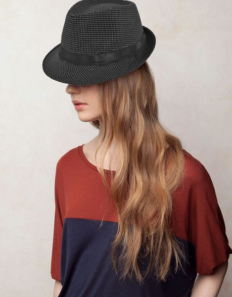 Fashion Women s Hats Unisex Fedora Hat Houndstooth Pattern Mens Pinched  Crown Ribbon Panama Cap Vintage Hats 322d451f808a