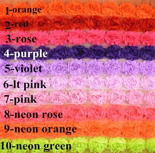 Vendita DAI CANTIERI! Accessori per fascia per capelli 24 COLORI! 65MM Shabby flash chiffon rose / girasoli / spilla / scarpe fiore / cappello fiore / 60YARDS /