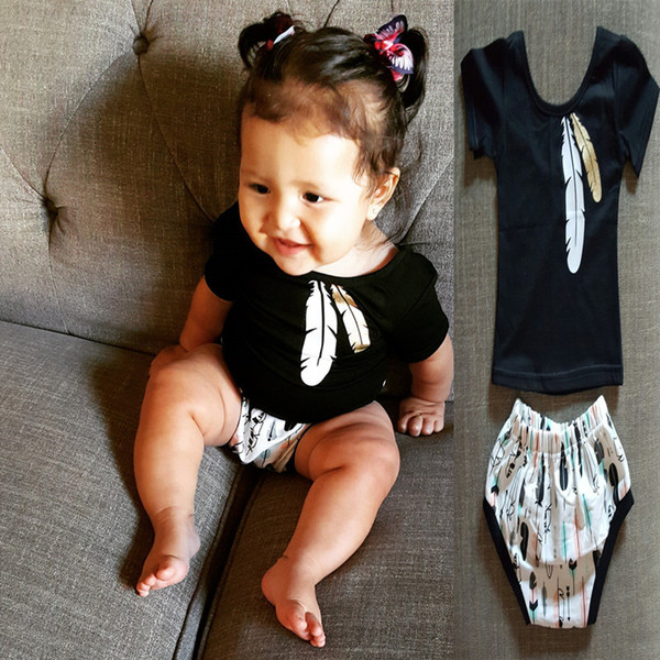 2020 Baby Clothing Set Summer Cotton Girls Black Feather Printed Short Sleeve T Shirt Tees And Shorts Triangle PP Pants Kids Children Clothes Set From