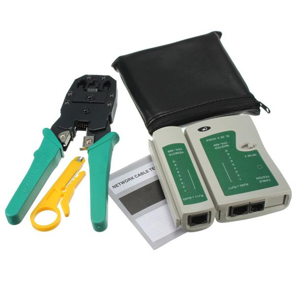 Portable HIGH SPEED PRO RJ45 RJ11 RJ12 CAT5 LAN Network Cable Tester Tool Kit Utp AND Plier Crimp Crimper Plug clamp PC HandTool order<$18no