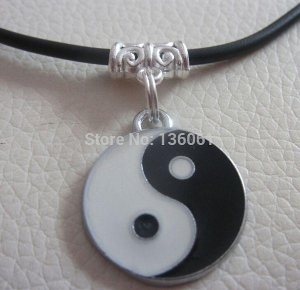Fashion 10PCS Vintage Silvers Enamel Ying yang Charms Choker Black Leather Statement Necklace&Pendants DIY Women Jewelry X540