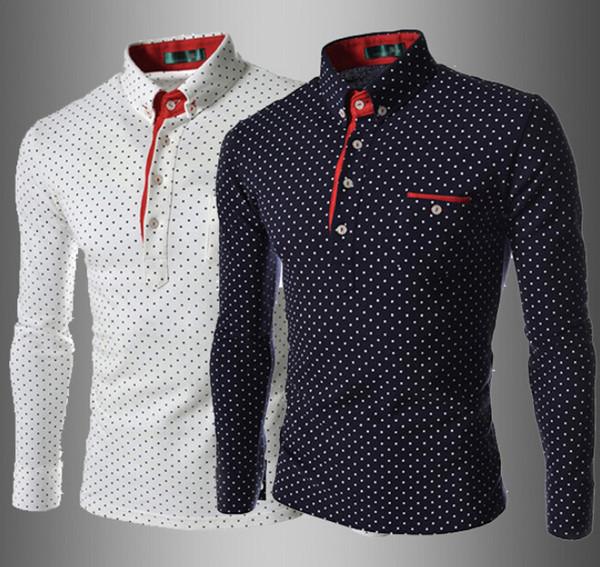 Camisas de vestir al por mayor y al por menor de los hombres de moda de lujo elegante vestido de diseñador informal camisa de lunares camisetas de ajuste muscular