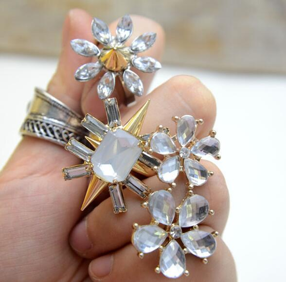 10pcs/lot Mix Style Mix Size Gold Crystal Fashion Ring For DIY Jewelry Gift Free shipping RI55