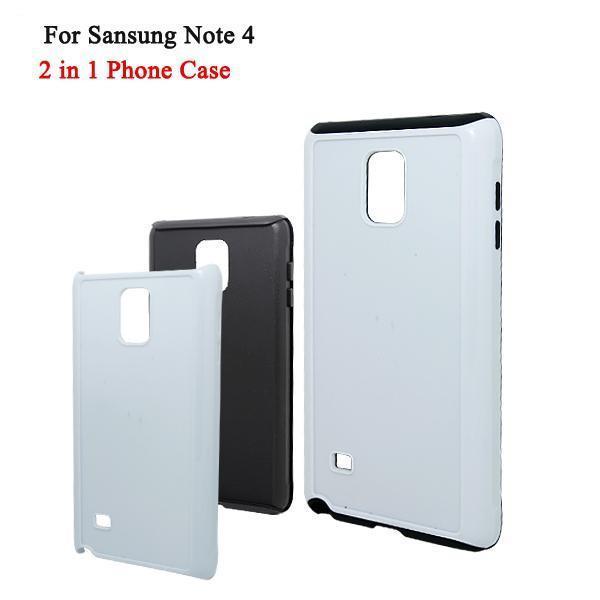 Samsung Galaxy Note 4 TPU + PC 2 in 1 FAI DA TE Casse del telefono cellulare con stampa a sublimazione a caldo con piastre in metallo per Samsung Note 4 DHL Free