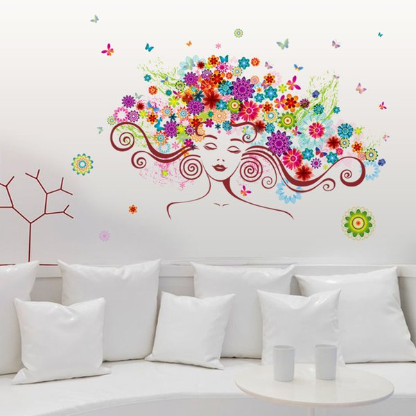 Colorful flower fairy children wall stickers for kids rooms nursery girls bedroom cartoon decal vinyl home decoration