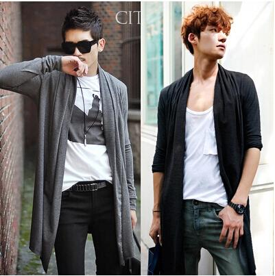 British Style Slim Fit Long Cardigan Mens Casual Shawl Collar Sweater Solid Color Spring Men Open Stitch Trench Coat Plus Size