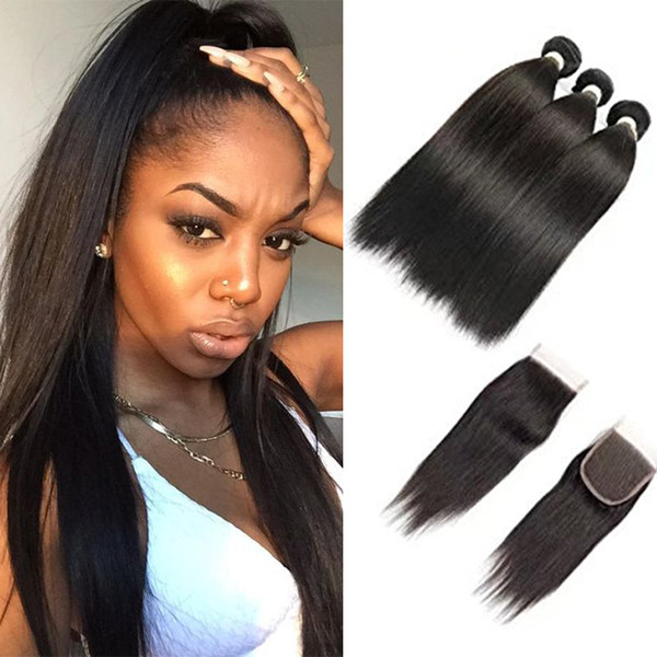 Peruvian Silk Straight 3 Bundles With Lace Closure Free Middle Or 3 Ways Part 100% Unprocessed Peruvian Straight Virgin Human Hair Weave