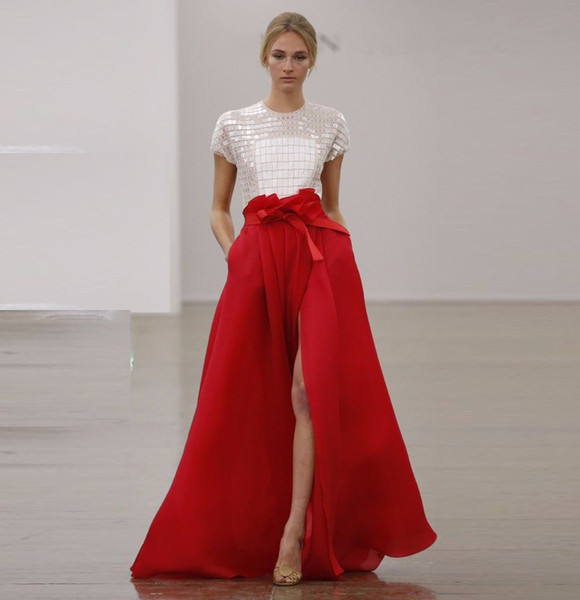 top popular New Fashion Red Organza Maxi Skirts Ruched Side Split Sexy Skirt Top Quality Custom Made A-Line Party Dresses Skirts for Women 2021