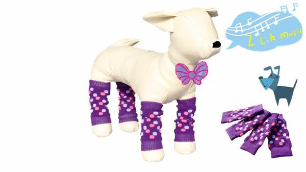 4Pcs / set Elastico Pet Dog Scaldamuscoli Scaldamani Protezioni Leopard stampa Ginocchio per cani di taglia piccola e media