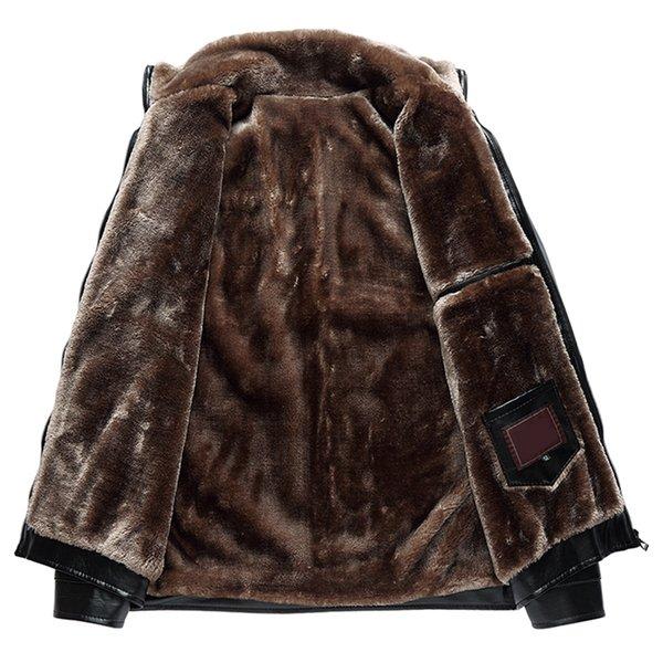 Toptan-2017 Yeni Kış Ceket Erkek Deri Ceket İş Katı Standı Yaka Polar Yumuşak Kaşmir Erkek Faux Kürk Palto Artı Boyutu XL-6XL