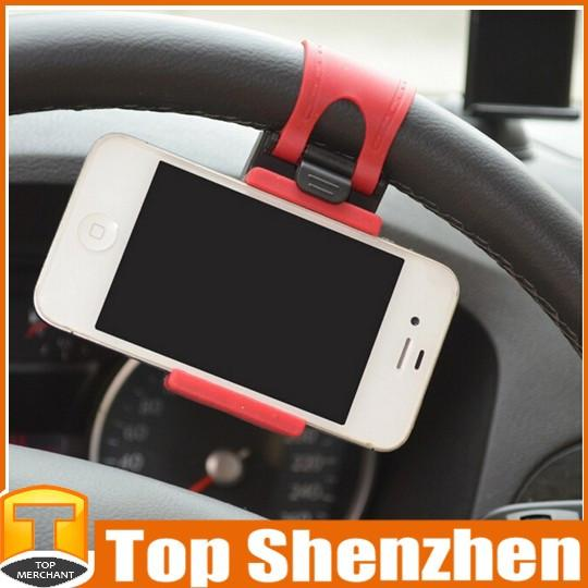 Hot Sale Car Steering Wheel Mount Holder Rubber Band For iPhone5 5s 6 6 Plus iPod MP4 GPS Mobile Phone Holders With Retail Package Wholesale