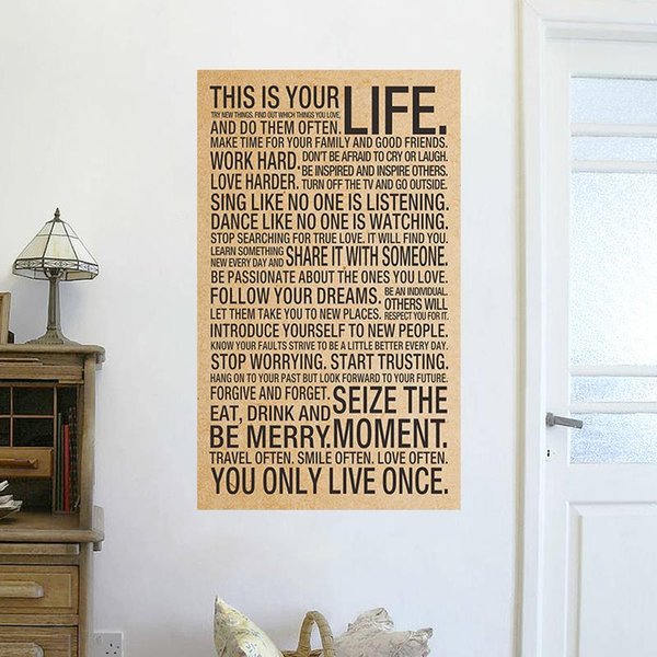 This Your Life Inspirational Words Kraft Paper Posters Wall Stickers - Inspirational words for new home
