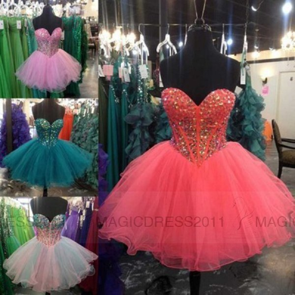 Lovely Prom Dresses Backless Homecoming Graduation Dress 2016 Sweetheart Hunter Red Pink Blue Crystal Bling Short Pageant Party Dress