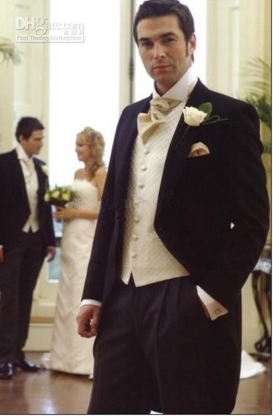 New Style Morning Suit Groom Tuxedos Peak Lapel Best Men Suits (Jacket+Pants+Tie+Waistcoat) G651