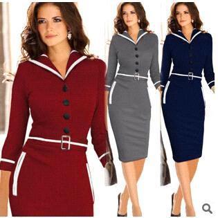 Neue 2015 Mode Vintage Kleider Frauen Elegante Business Arbeitskleidung Formale Bleistift Kleid Sommer Büro Frauen Karriere Kleider Damen