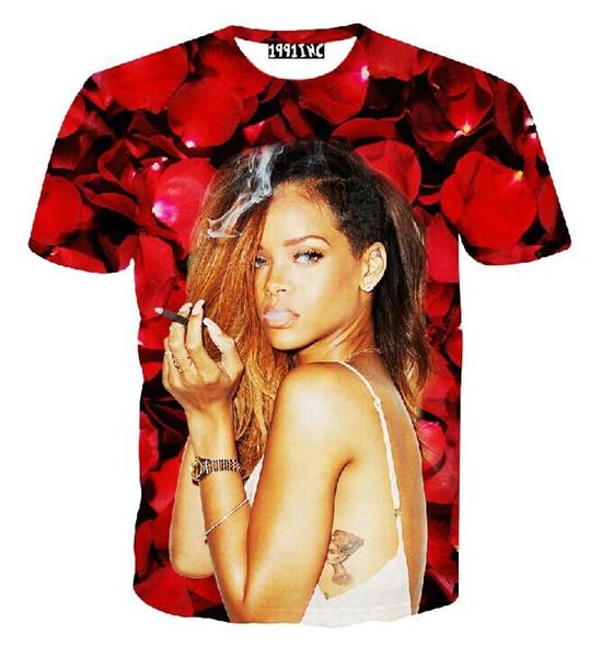 FG1509 2015 nuove donne di modo magliette 3d maglietta di Rihanna stampata rose rosse camisetas mujer magliette sexy in cima a magliette estive vestiti