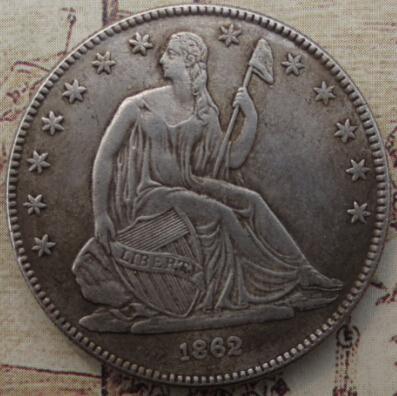 Hohe Qualität 1862 Seated Liberty Half Dollar kopie münzen Förderung Günstige Neupreis schöne wohnaccessoires Silbermünzen