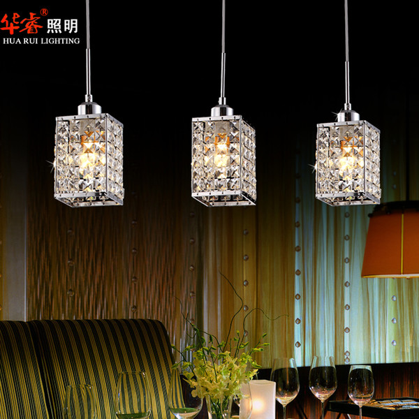 3head Modern Square LED Crystal Chandeliers Dining Room Lights Kitchen  Lighting Staircase Lamp Hanging Lights Modern