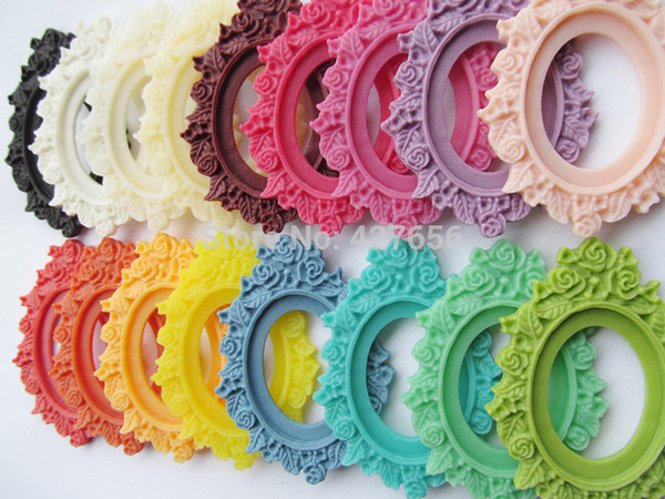 100pcs 17 Colors Oval Flatback Resin Frame Charm Finding,Filigree Flower Border Base Setting Tray, for 30x40mm Cabochon/Cameo,DIY