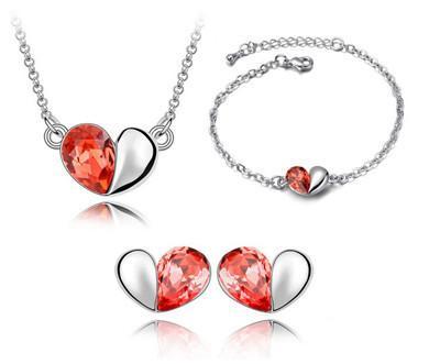 Bracelets Earrings Necklaces Fashion Austria Zircon Crystal Necklace+Earrings+Bracelet Love Heart Jewelry Set Diamond Jewellry Free Ship DHL