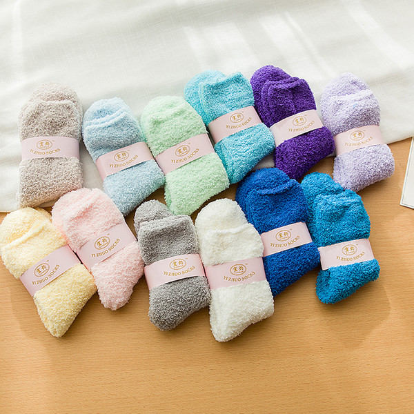 best selling towel ankle socks solid thicken warm Fuzzy terry elastic short for floor carpet spring autumn winter lady girl women female