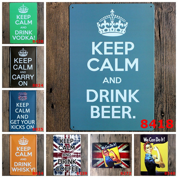 "Metal Wall ""We Can Do It!"" ""KEEP CALM AND DRINK WHISKY ""in Signs Home Decor House Office Restaurant Bar Metal Painting Art 20x30cm"