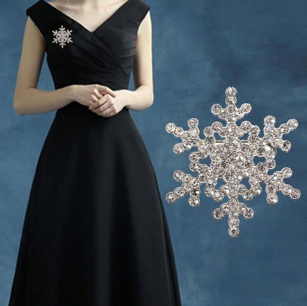 Mode Frozen Broche Broche Cristal Strass Grand Flocon De Neige Hiver neige Thème OK Mariage Broches Bijoux Cadeau De Noël Livraison Gratuite