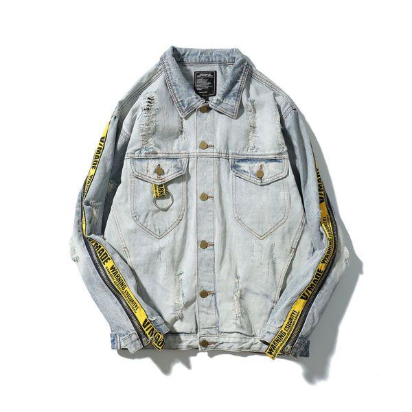 High Street Fashion Punk Men's Denim Jacket Hombres Vitange Braid Patchwork Prendas de abrigo Chaquetas Chaquetas Ropa Para Otoño Invierno