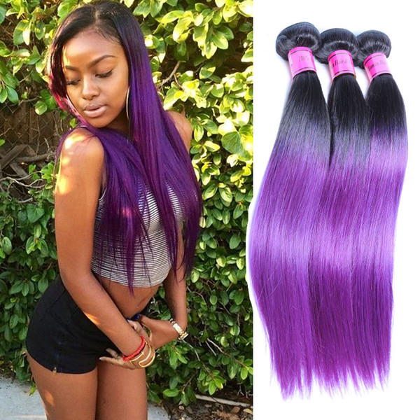 Purple Ombre Hair Extensions Perruque Cheveux Humain Purple Straight