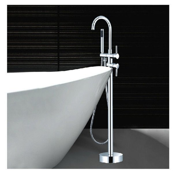best selling Wholesale And Retail Luxury Clawfoot Bathtub Faucet Floor Mounted Tub Filler Mixer Tap W  Hand Shower