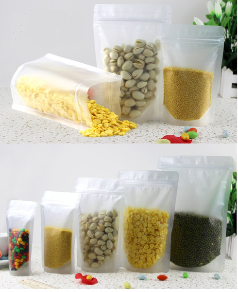 100pcs/lot clear frosted plastic bag stand up Ziplock design Packaging Bag for nuts, tea, rice, corn, cookie etc 9 size totaly free shipping