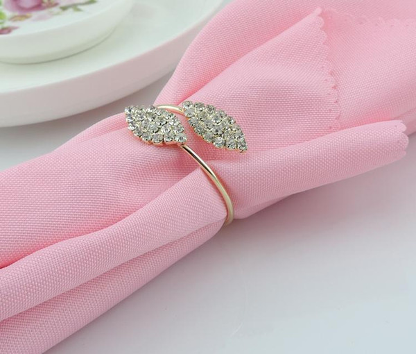 2015 New Bling Crystal Rhinestone Leaf Napkin Rings metal wedding napkin holder for Hotel Wedding Banquet Table Decoration Accessories