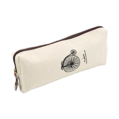Wholesale-1pcs white bike Canvas Paris Pencil Pen Case Cosmetic Makeup Pouch Zipper Bag