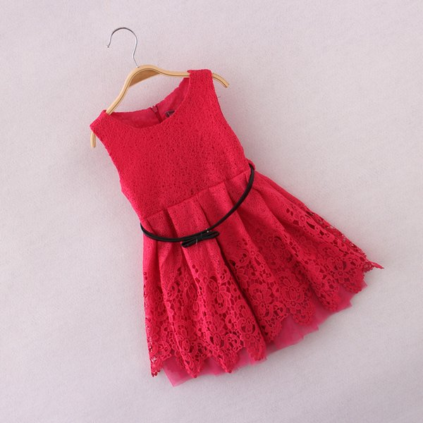 Summer New Arrival Children's Dress European&American Style Pierced Dress Sleeveless Vest Gown Dress with Belt Free Shipping