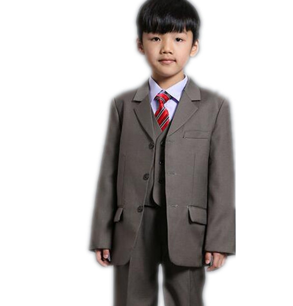 Cute boys suits three piece suit two buttons formal wedding party children suits birthday party formal wear (jacket+pants+vest)