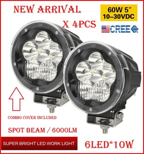 """DHL 4PCS 5"""" 60W 6LED*10W CREE LED Driving Work Light Round Offroad SUV ATV 4WD 4x4 Transport Spot Beam 10-60V 6000lm Combo Protection Cover"""