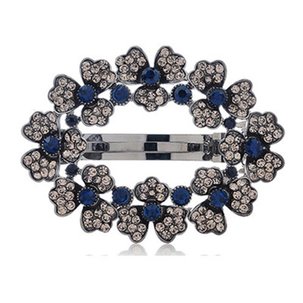 Women Fashion Hollow Rhinestone Hair Clip Hair Accessories Princess Blue Crystal Flower Spring Clip Hair Pins Gifts