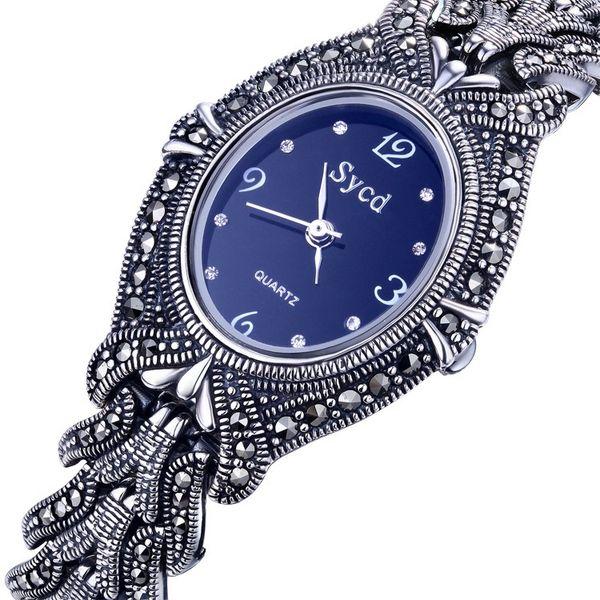 Ladies Women 925 Sterling Silver Watch Thai Silver Vintage Watch Silver Bangle Wrist Silver Bracelet Fine Lines Oval Watches