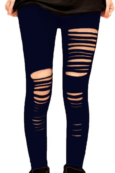 delicate colors new styles professional website 2019 2016 New Women Black Shredded Leggings Fashion Slim Long Trousers Sexy  Slashed Slit Hole Plus Size Ripped Leggings Skinny Pants XL XXL E7826 From  ...