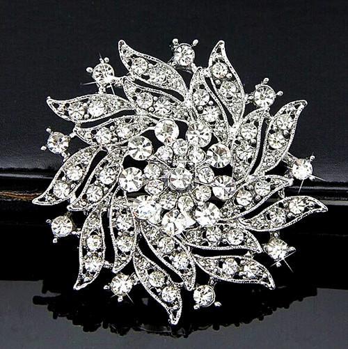 2.2 Inch Pretty Gold Planted and CZ Clear Crystal Rhinestone Diamante Party Wedding Bouquet Brooch