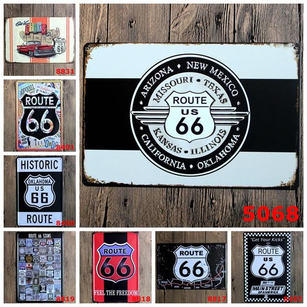 Metal Tin Signs Retro Poster ROUTE 66 Vintage Decor Sticker Decorative Metal Wall Craft Vintage Plaque 20X30CM
