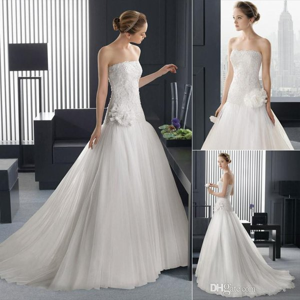 Top Sale Wedding Dresses Bridal Gown With A Line Ivory Strapless Sexy Bare Back Beaded Crystal Full Lace Top Handmade Flowers