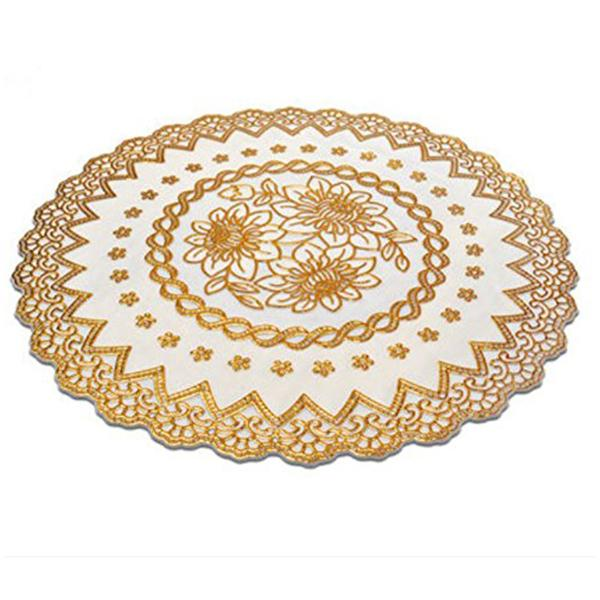 Wholesale- Gold Stamping PVC Waterproof Placemats Coaster European style heat resistant table mats 4 PCS (round)
