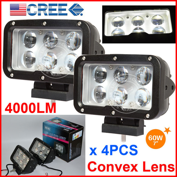 """4PCS 7"""" 60W CREE 6LED*10W Driving Work Light Rectangle Offroad SUV ATV 4WD 4x4 Spot Beam 9-60V 6000lm Auto Truck Forklift With Convex Lens"""