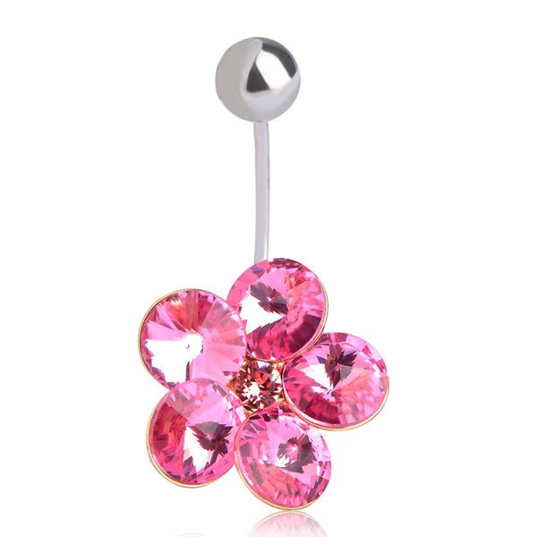 2019 Blucome Navel Piercing Rhinestone Shining Flower Belly Button Ring Nombril Body Jewelry Stainless Septum Piercing Pink Flor Hot From Cxk5 10 09