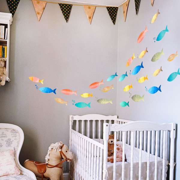 Fish Wall Decal Sticker Home Decor DIY Removable Art Vinyl Mural For Kids Room/Bathroom/Tile/kindergarten/Sliding Door QTB494