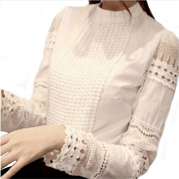 top popular 2015 Spring Autumn Woman White Blouses Plus Size Women's Blouse Elegant Lace Crochet Hollow Slim High Quality Chiffon Blusas Blouse Shirts 2021