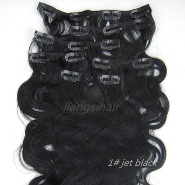 "Body Wavy Style 15""-26"" 7pcs 1# Jet Black Clip in human Hair Extension Brazilian Peruvian Malaysia Indian virgin Remy human Hair Bundles"