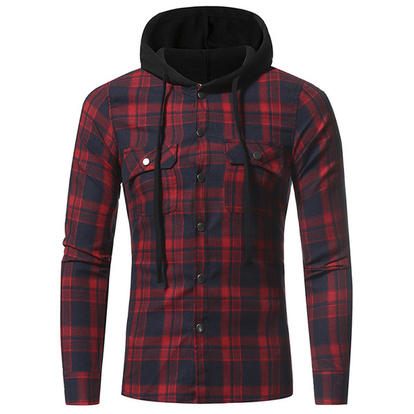 top popular 2017 autumn and winter men's new flannel large plaid double pocket hooded casual men's plaid long-sleeved shirt 2021