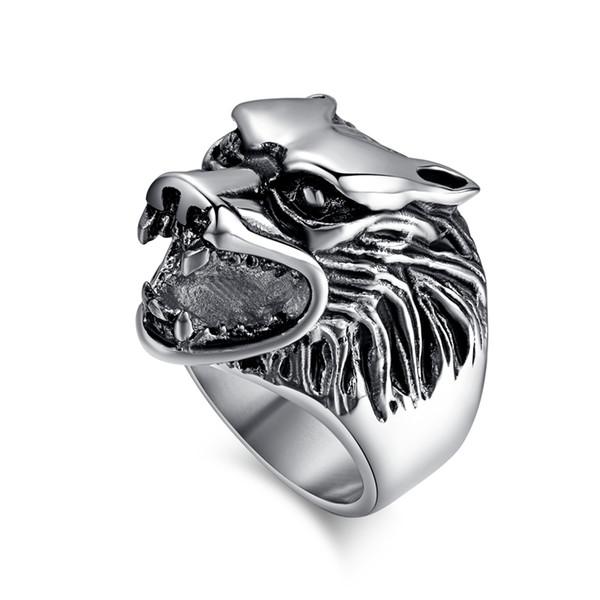Moda lobo anéis homens anel de aço inoxidável do punk cool jóias de alta qualidade